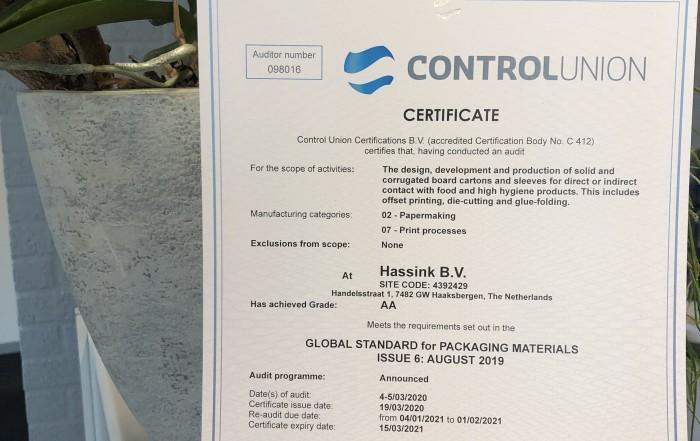 BRC IOP AA certificaat Hassink