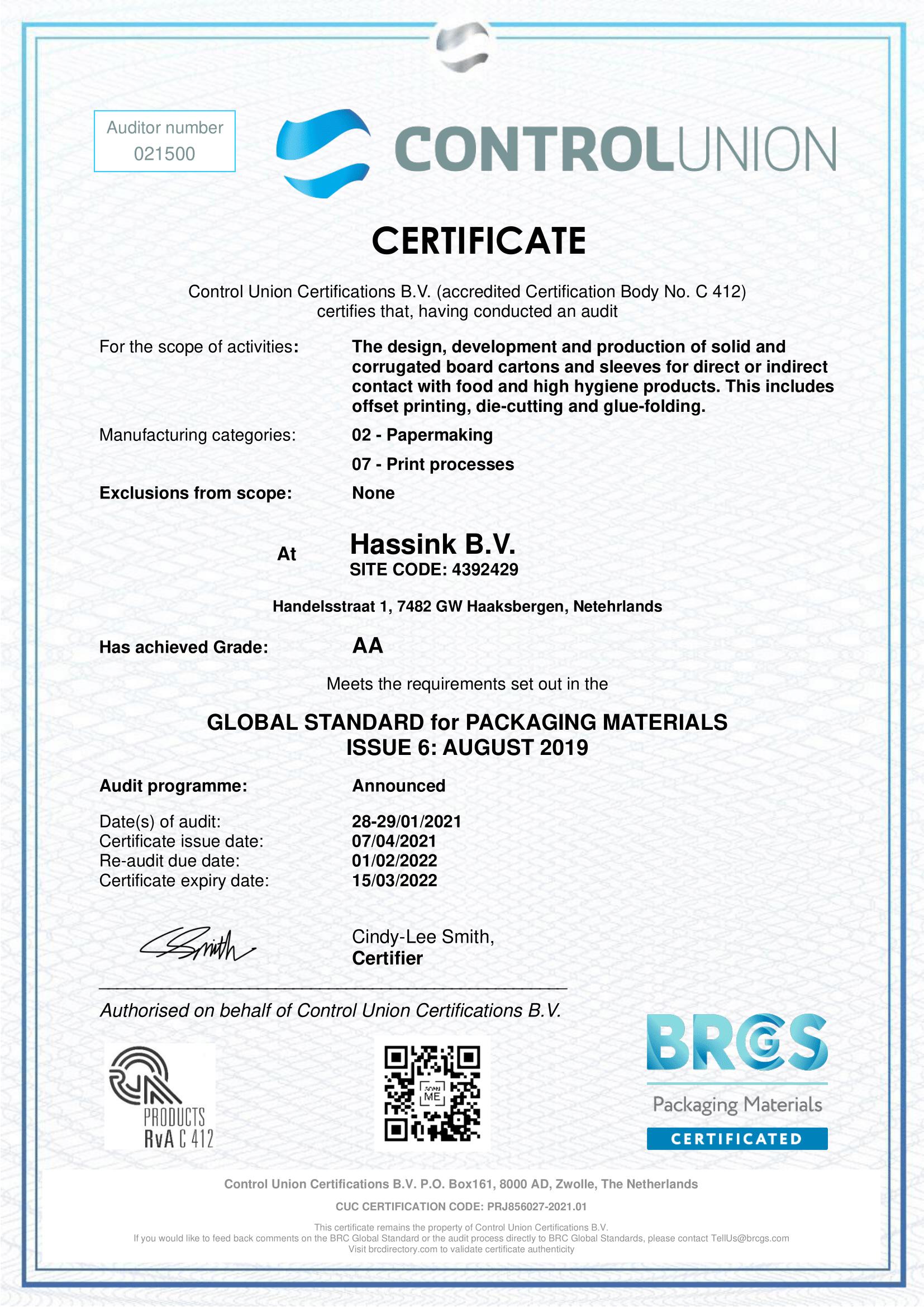 BRC Certificaat 2021